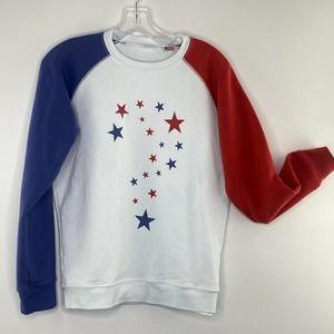 Vintage LEVI'S Sweatshirt Women's SMALL American USA Colorblock Star Print Top
